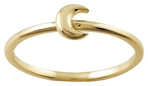 Designer 14K Yellow Gold Stackable Ring with Crescent Moon Accent by BrianG @ BrianGdesigns