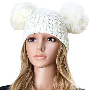 Other White Knit Beanie Pom Pom Winter Hat