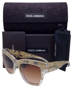 Dolce&Gabbana New DOLCE&GABBANA Sunglasses DG 4231 2851/13 Clear & Gold Lace Frame w/Brown Gradient Lenses