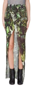 Helmut Lang Maxi Skirt Black and green print