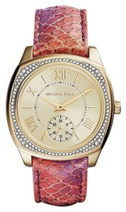Michael Kors Multi Color Pink Python Band Crystal Pave Gold Ladies Watch
