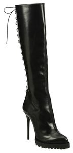 Alexander McQueen Lace Up Knee Black Boots