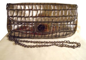 Badgley Mischka Leather Croc Metallic pewter Clutch