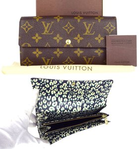 Louis Vuitton Auth LOUIS VUITTON Leopard Portefeuille Sarah Long Bifold Wallet Monogram rare