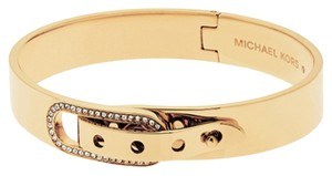 Michael Kors MKJ4614 Michael Kors Buckle Accent Bangle Bracelet Gold Tone Crystal Pave