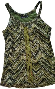 Apartment 9 Top Green with bllack and white design and sequins down the front