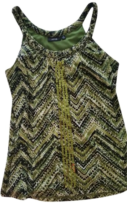 Preload https://item5.tradesy.com/images/apartment-9-green-with-bllack-and-white-design-and-sequins-down-the-front-tank-topcami-size-4-s-1124614-0-1.jpg?width=400&height=650