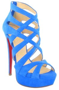 Christian Louboutin Suede Bright Party Sandal Blue Platforms