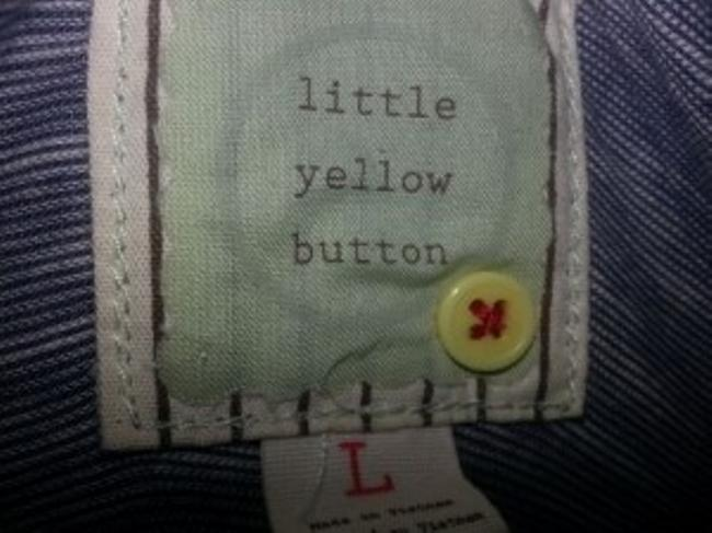 Little Yellow Button Embellished Ruffle Top Gray