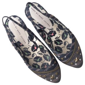 Marc by Marc Jacobs Flat Slingback Studded Denim Flats