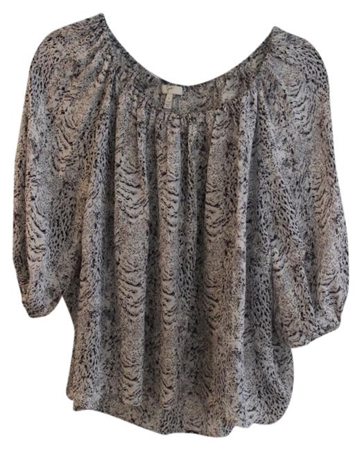 Joie Scoop Neckline Pleated Front; Loose Billowy Fit. Billowy Fit Loose Pleated Front Silk Pullover Style Top black, white, animal print