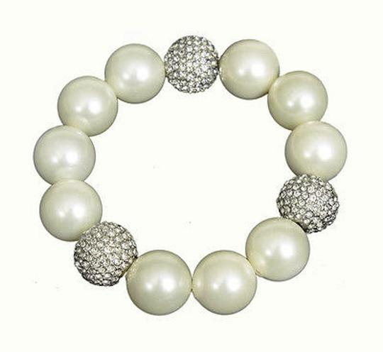 Kenneth Jay Lane Kenneth Jay Lane Pearl And Crystal Pave Ball Stretch Bracelet 8