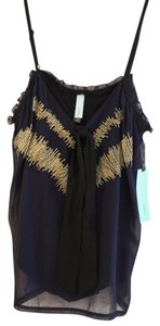 Black Cat Gold Embelishments Dressy Girls Night Top navy blue