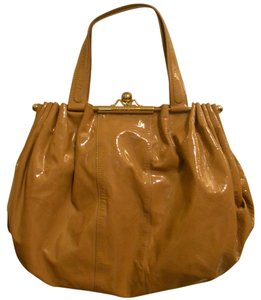 Roberto Cavalli Kiss Lock Patent Leather Tote in Beige