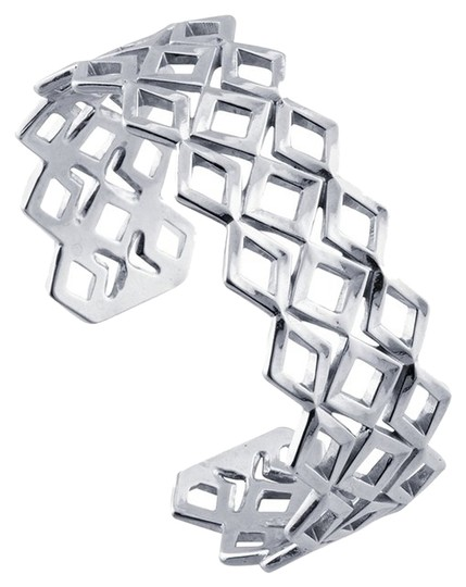 Other Modern Design Sterling Silver Geometric Diamond Pattern Cuff Bracelet by BrianG @ BrianGdesigns
