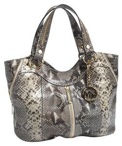 Michael Kors Moxley Gold Hardware Embossed Leather Two Handles Tote in Dark Sand