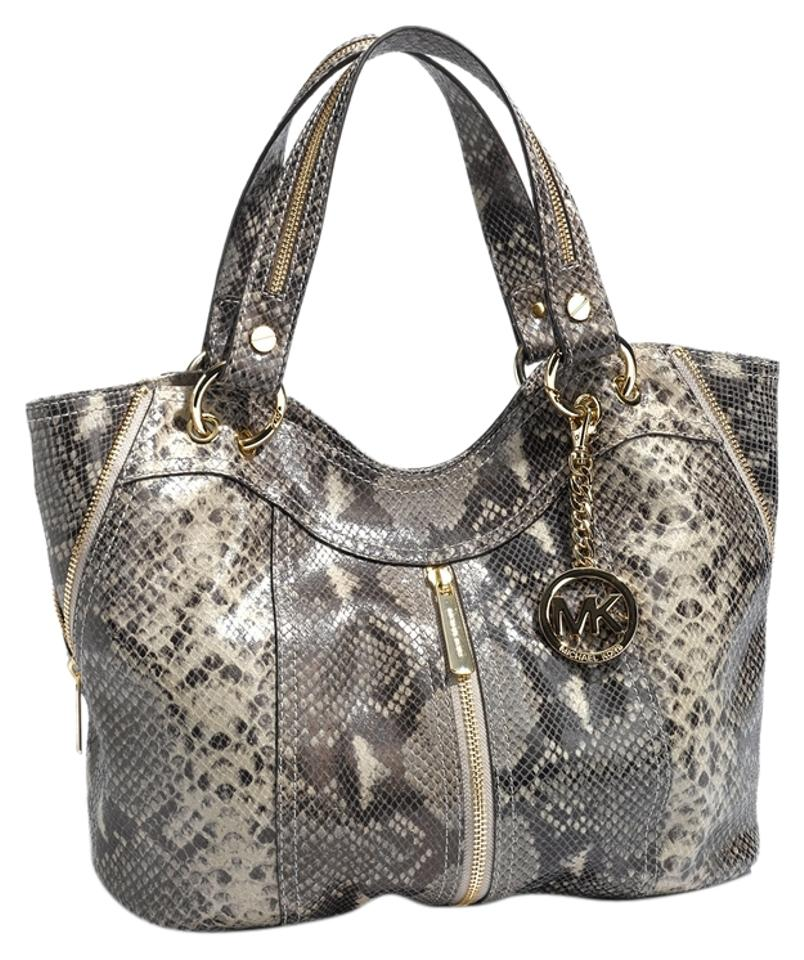 6508e1939c0c Michael Kors Moxley Gold Hardware Embossed Leather Two Handles Tote in Dark  Sand Image 0 ...