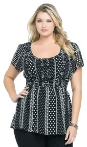 Torrid Empire Waist 2 18/20 Top Black Polka Dot & Lace Print