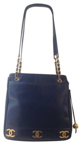 Chanel Double Flap Gold Hardware Ghw Tote in Navy blue