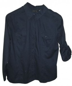 New York & Company Button Down Shirt navy