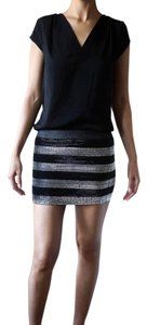 Forever 21 High-waisted Chic Ultra Mini Mini Skirt stripes silver and black