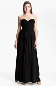 Donna Morgan Black Chiffon Silk 'laura' Ruched Sweetheart Gown Modern Bridesmaid/Mob Dress Size 14 (L)