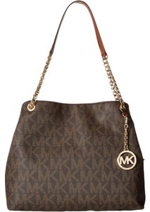 Michael Kors Tote Signature Mk Print Canvas Mk Chain And Leather Handles Removable Mk Medallion Shoulder Bag