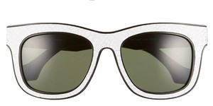 Balenciaga NEW! Balenciaga Crackled Leather Retro Wayfarer Style Sunglasses, 53mm, Black and White, BA0009