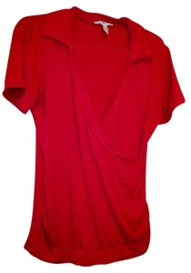 H&M Large Stretch Fitted Professional V-neck Top Coral
