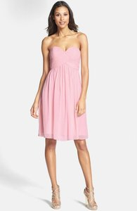 Donna Morgan Blush Chiffon Silk Ruched Modern Bridesmaid/Mob Dress Size 2 (XS)