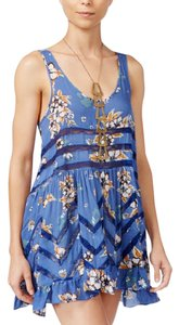 Free People short dress Blue Combo Voile Lace Trapeze Slip on Tradesy