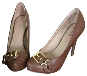 JustFab Brown w/Gold Buckle Pumps