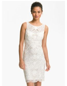 Sue Wong Ivory Lace and Embellished Sheath with Intricate Feminine Wedding Dress Size 2 (XS)