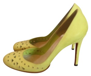Christian Louboutin Suede Cut-out Round Toe Chartreuse Pumps - item med img
