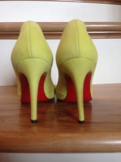 Christian Louboutin Suede Cut-out Round Toe Chartreuse Pumps