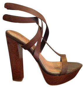 Mark & James by Badgley Mischka Strappy Sandal Wood Leather Brown Platforms