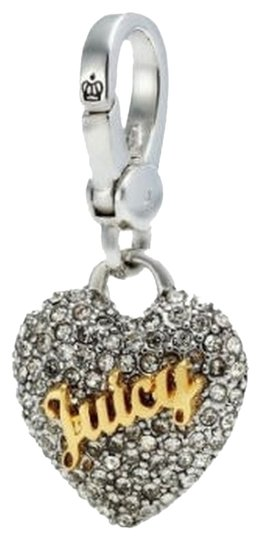 """Juicy Couture Crystal Pave Heart """"Juicy"""" Charm Silver YJRU7327 New"""