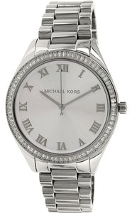 Michael Kors Silver Glitz Crystal Pave Designet Stainless Steel Watch