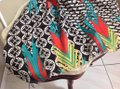 MIR MIR Turquoise/multi bows and arrows long cotton scarf Image 2