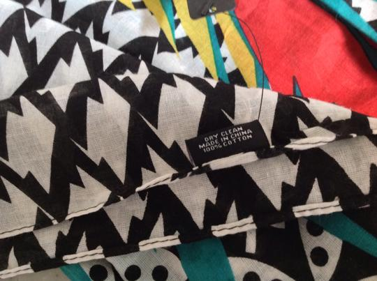 MIR MIR Turquoise/multi bows and arrows long cotton scarf