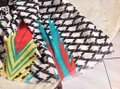MIR MIR Turquoise/multi bows and arrows long cotton scarf Image 5