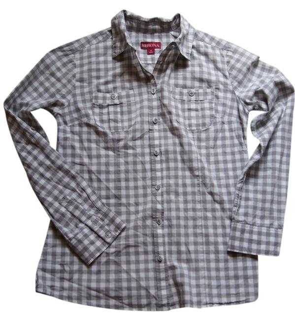 Merona Button Down Shirt gray/white