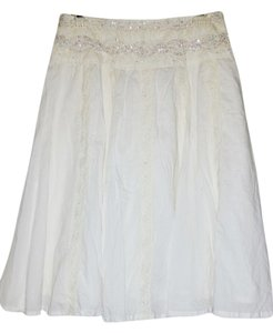 Miss Me Lace Trim Sequin Skirt White