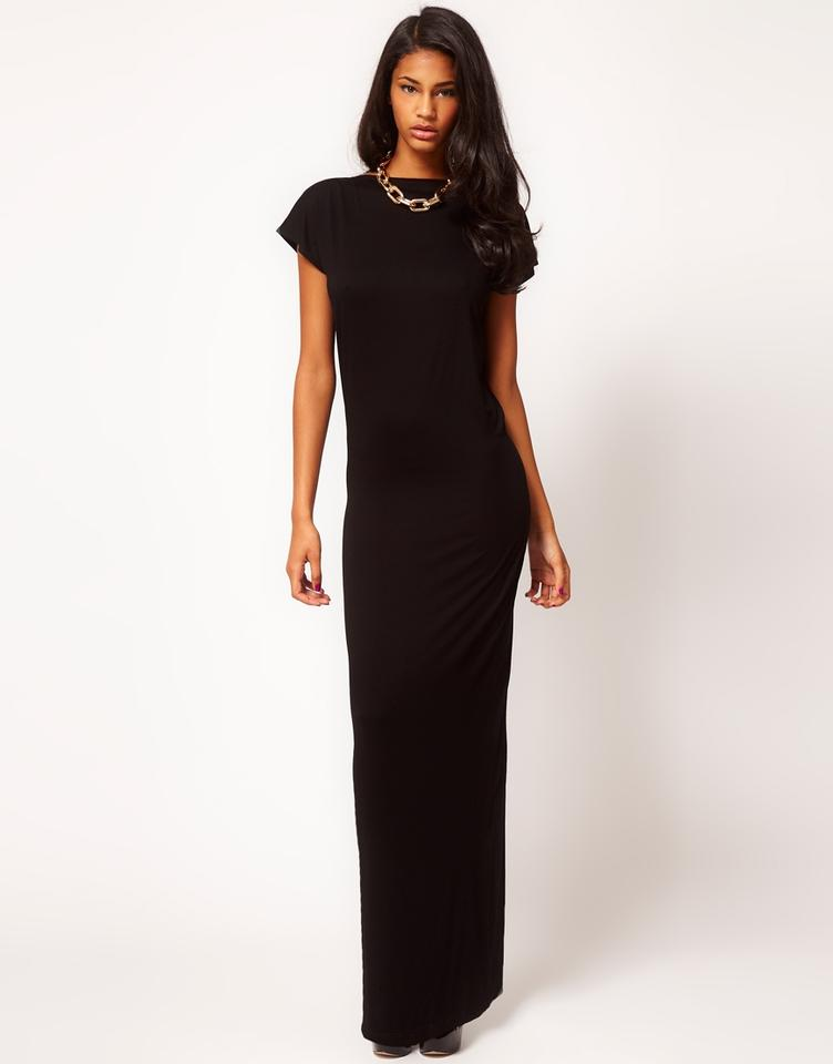 Asos Black Maxi With Low Long Formal Dress Size 8 M Tradesy