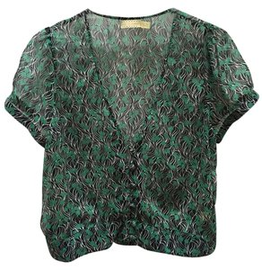 Pins and Needles Short-sleeved Patterned Top green and black
