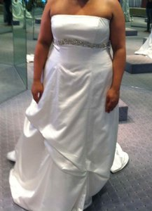 Alfred Angelo Ivory Satin Traditional Wedding Dress Size 20 (Plus 1x)