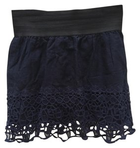 Embroidered Mini Skirt Navy blue