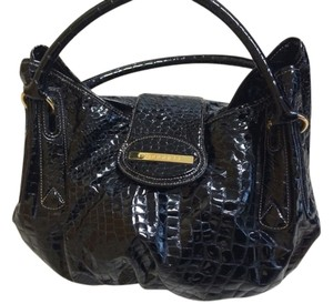 Borbonese Pebbled Patent Leather Shoulder Bag