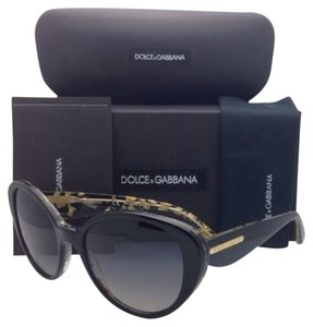 Dolce&Gabbana Polarized DOLCE&GABBANA Sunglasses DG 4198 2744/T3 Black/Gold Cat-Eye Frame w/ Grey Gradient Lenses