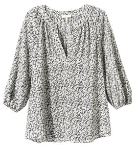 Joie Printed Placket Top Caviar